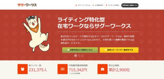 サグーワークス:記事作成で最高月70万円の在宅ワーク