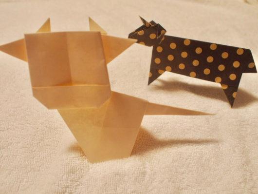 牛のかわいい折り紙