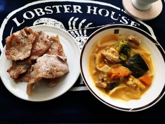 北海道の一人暮らし料理:豚肉のバター炒め&鶏肉とかぼちゃのクリーム煮